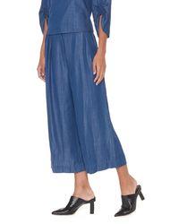Tibi - Blue Indigo Drape Cropped Pleat Pants - Lyst
