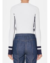 Tibi - Blue Graphic Striped Panel Crewneck Pullover - Lyst
