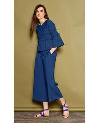 Tibi - Blue Stretch Faille Culottes - Lyst