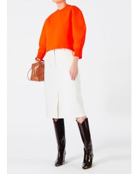 Tibi - Orange Tech Poly Sculpted Sleeve Pullover - Lyst