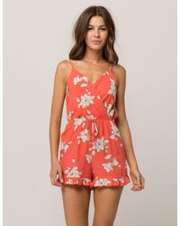 Mimi Chica - Red Floral Tie Back Womens Romper - Lyst