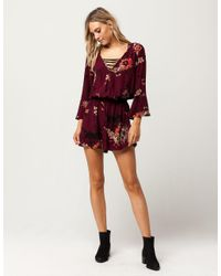 Band Of Gypsies - Red Bog Collective Surplice Womens Romper - Lyst
