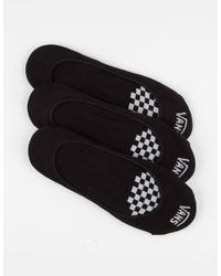 Vans - Black 3 Pack Girly No Show Socks - Lyst