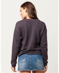 Blu Pepper - Gray Lace Up Grommet Womens Sweater - Lyst