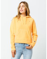 Champion Reverse Weave Garment Dyed Cartoon Yellow Womens Hoodie