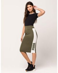 0b0bfa4ed0 PUMA Archive Logo Pencil Skirt in Green - Lyst