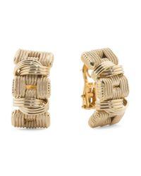 Tj Maxx - Metallic Made In Italy 14k Gold Basket Weave Earrings - Lyst