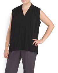 Tj Maxx - Black Plus Sleeveless Pleat Neck Top - Lyst