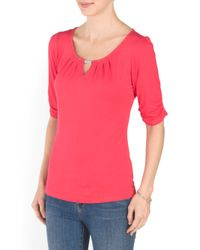 Tj Maxx - Red Pleated Scoop Neck Top - Lyst