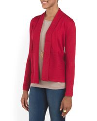 Tj Maxx - Red Mixed Stich Cardigan - Lyst