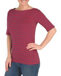 Tj Maxx - Red Boat Neck Elbow Sleeve Top - Lyst