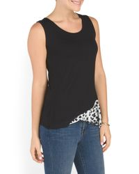 Tj Maxx - Black Made In Usa Tank With Contrast Animal Print - Lyst