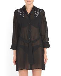 Tj Maxx - Black Swan Shirt Dress Cover-up - Lyst