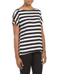 Tj Maxx - Black Striped Boat Neck Cold Shoulder Top - Lyst