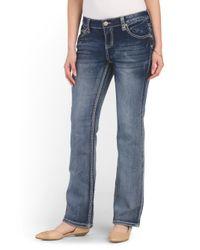 Tj Maxx - Blue Embroidered Short Slim Boot Jean - Lyst