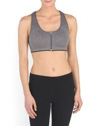 Tj Maxx - Gray Zipper Front Melange Short Bra - Lyst