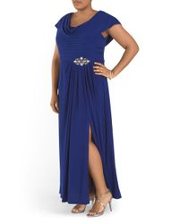 Tj Maxx - Blue Plus Drape Neck Beaded Waist Gown - Lyst
