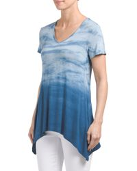 Tj Maxx - Blue Made In Usa Shark Bite Dipped Tie Dye Top - Lyst