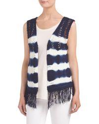 Tj Maxx - Blue Tie Dye Crochet Fringe Vest - Lyst