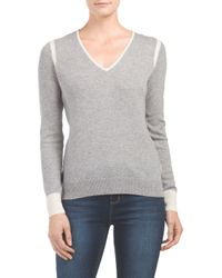 Tj Maxx - Gray Cashmere Elbow Patch V Neck Sweater - Lyst