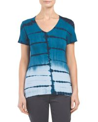 Tj Maxx - Blue Made In Usa Ombre Tie Dye V Neck Tee - Lyst