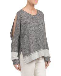 Tj Maxx - Gray Made In Usa Cold Shoulder French Terry Top - Lyst