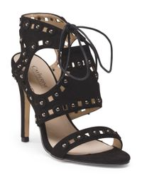 Tj Maxx - Black High Heel Lace With Stud Ornament Sandal - Lyst