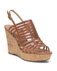 Tj Maxx - Brown Leather Ankle Strap Wedge Sandal - Lyst