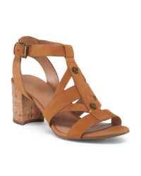 Tj Maxx - Brown Leather Cork Heel Sandal - Lyst