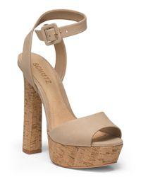 Tj Maxx - Natural Suede Platform Single Strap Sandal - Lyst