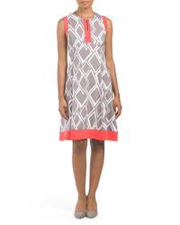Tj Maxx - Gray Sleeveless Printed Geometric Dress - Lyst