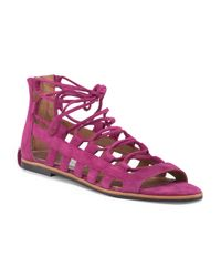 Tj Maxx - Pink Suede Lace Up Sandal - Lyst