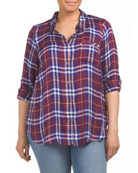 Tj Maxx - Purple Plus Plaid Top - Lyst