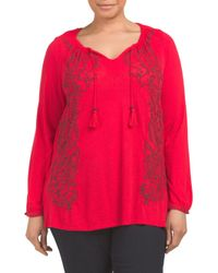 Tj Maxx - Plus Embroidered Peasant Top - Lyst