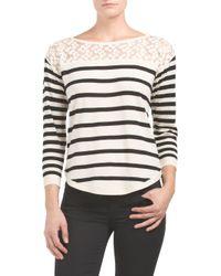 Tj Maxx - Multicolor Lace Top Striped Sweater - Lyst