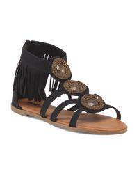 Tj Maxx - Black Ankle Strap Fringe Sandal - Lyst