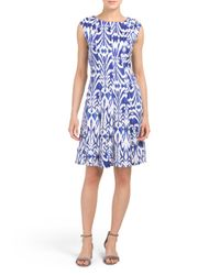 Tj Maxx - Blue Printed Fit And Flare Dress - Lyst