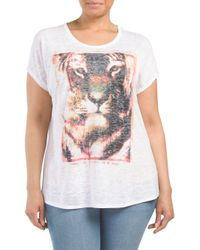 Tj Maxx - White Plus Camo Burnout Jungle Lion Screen Tee - Lyst