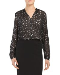Tj Maxx - Black Floating Stars Y Neck Top - Lyst