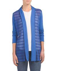 Tj Maxx - Blue Mesh Shadow Stripe Cardigan - Lyst