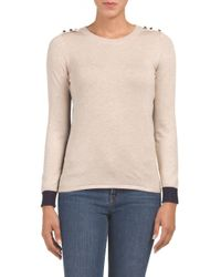 Tj Maxx - Natural Colorblock Elbow Patch Sweater - Lyst