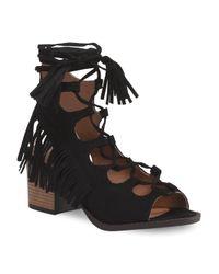 Tj Maxx - Black Lace Up Ankle Wrap Sandal - Lyst
