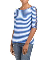 Tj Maxx - Blue Boat Neck Top With Lacing Detail - Lyst