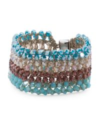 Tj Maxx - Blue Beaded Crochet Magnetic Clasp Bracelet - Lyst