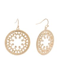 Tj Maxx - Metallic Filigree Front Facing Open Hoop Earrings In Gold Tone - Lyst