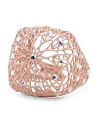 Tj Maxx - Metallic Made In Italy Rose Gold Plated Sterling Silver Squared Flower Ring - Lyst