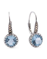Tj Maxx - Blue Made In Thailand 14k Gold And Sterling Silver Fancy Round Stone Earrings - Lyst