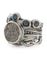 Tj Maxx - Metallic Made In Israel Sterling Silver Moonstone And Drusy Ring - Lyst