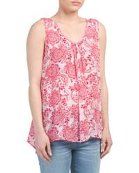 Tj Maxx - Red Printed Crinkled Gauze Tank - Lyst