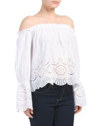 Tj Maxx - White Off The Shoulder Eyelet Top - Lyst